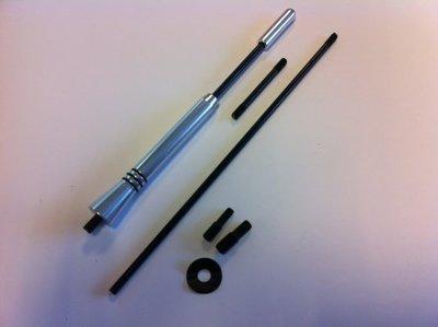 Antenne spriet Aluminium zwart zilver M5/M6 (165mm)